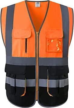 Chalecos reflectantes naranja con cremallera
